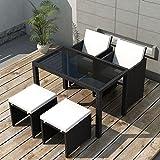 Festnight mobilier de Jardin Résine tressée 11 pcs Noir 1 Table, 2 chaises, 2 tabourets et 6 Coussins