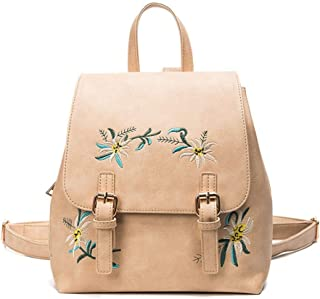 Fashion Embroidered Backpack Travel School Shoulder Bag Daypack (Color : Khaki)