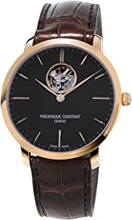 Frederique Constant Men s Heart Beat Swiss Automatic Gold case and brown Leather Dress Watch  Model FC 312G4S4
