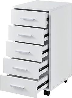 [en.casa] Caisson à roulettes Mobile avec 5 Tiroirs en MDF 63 x 33 x 38 cm Blanc