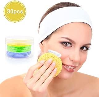 EC VISION Facial Sponges,Compressed Cellulose Facial Cleansing Sponges -100% Natural 30 Count (Round)