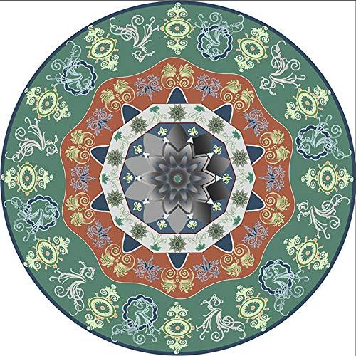 CHLDDHC Alfombra Redonda de Algodón Alfombra de Algodón Mandala Europea Tejida a Mano, Alfombras de Mesa de Centro de Estudio en La Sala de Estar, Alfombras de Piso de 100 Cm De Diámetro