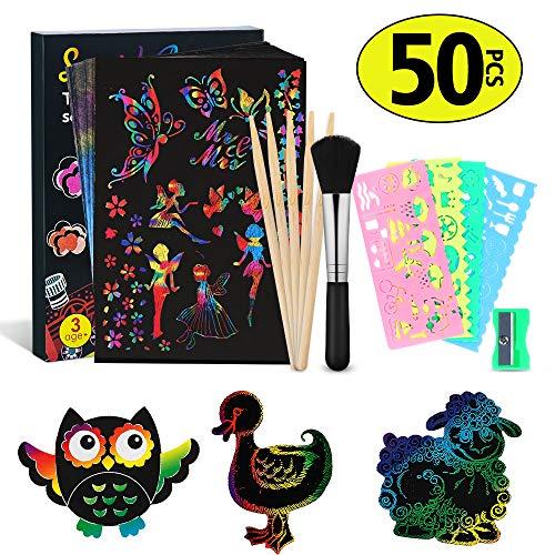 MEckily Kratzbilder Set für Kinder,Kratzpapier Set, 50 Große Blätter Regenbogen Kratzpapier zum Zeichnen und Basteln | mit Schablonen, Holzstiften und Stickern