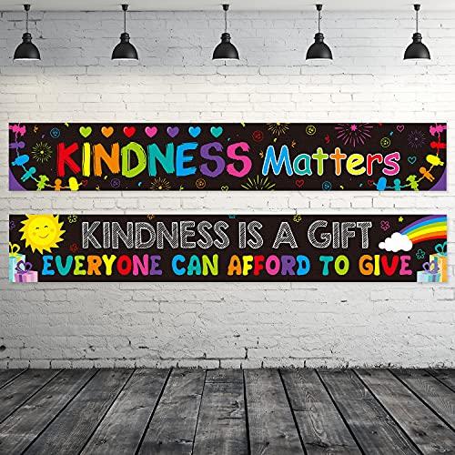 2 Pancartas de Kindness Matters Pancarta Motivacional de Aula Pancarta Escolar Inspiradora Póster Positivo Colorido con Pegamento para Decoración de Preescolar Escuela (Color Oscuro)