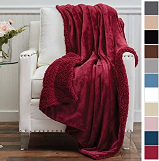 The Connecticut Home Company Micromink Velvet with Sherpa Reversible Throw Blanket, Super Soft, Large Wrinkle Resistant Blankets, Warm Hypoallergenic Washable Couch or Bed Throws, 65x50, Merlot