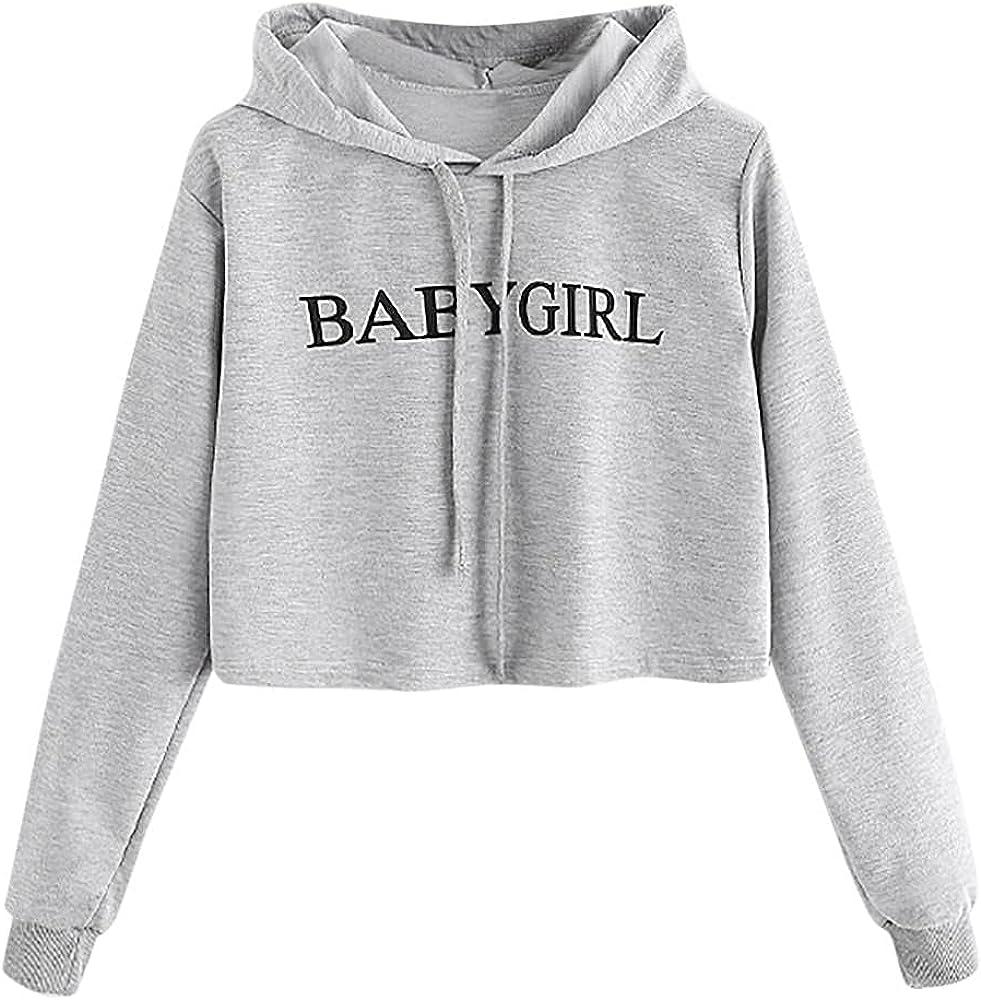 FACAIAFALO Women's Casual Workout Long Sleeve Crop Tops Zip Up Hoodies Sweatshirts