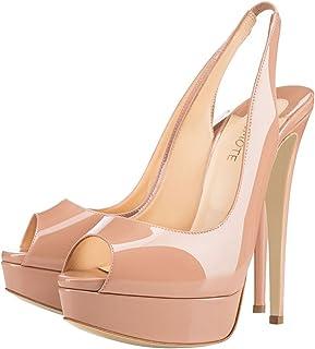 JOY IN LOVE Women's Slingbacks Peep Toe High Heels Shoes Platform Pumps Wedding Party
