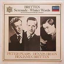 417 183 PETER PEARS Britten Serenade/Winter Words/7 Sonnets Michelangelo LP