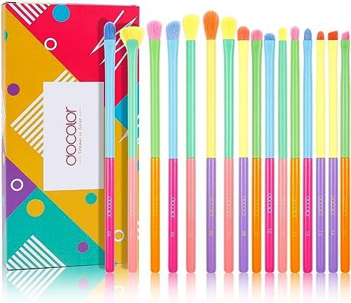 Docolor Eye Makeup Brushes 16pcs Colorful Eyeshadow Makeup Brush Set Professtional Eyeshadow Brushes with Soft Synthe...