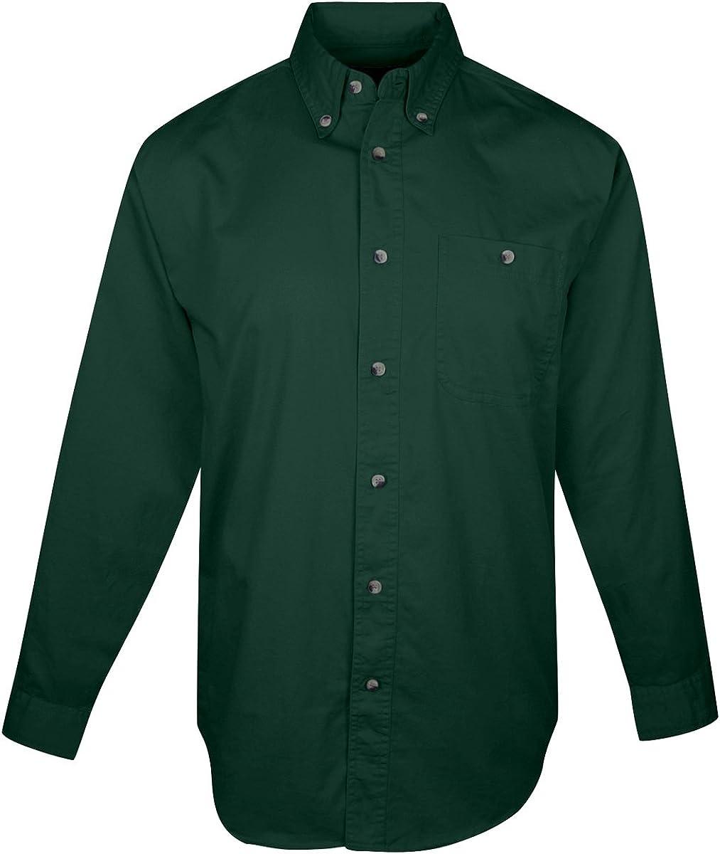 Tri-mountain Mens cotton long sleeve twill shirt. 810TM - FOREST GREEN_4XLT