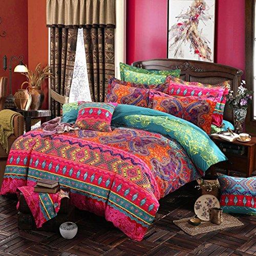 Lanqinglv Bohemian Bettwäsche 155x200 cm 2 Teilig Boho Indischen Mandala Böhmisch Bettwäsche Set Renforce mit Reißverschluss Vintage Rot Bettbezug und 1 Kissenbezug 80x80cm (MJH,155x200)