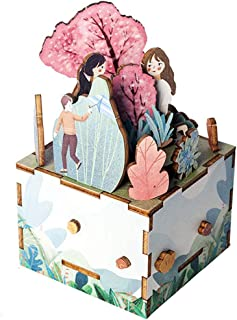 KOVIPGU DIY Wooden Musical Box Girl and Spring Music Box Puzzle Kit Kids Assembly Toy