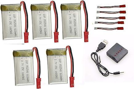 kit 5 Bateria 600mah E Carregador 5x1 para Drone Inspire Fq777 Ml2123 e similares