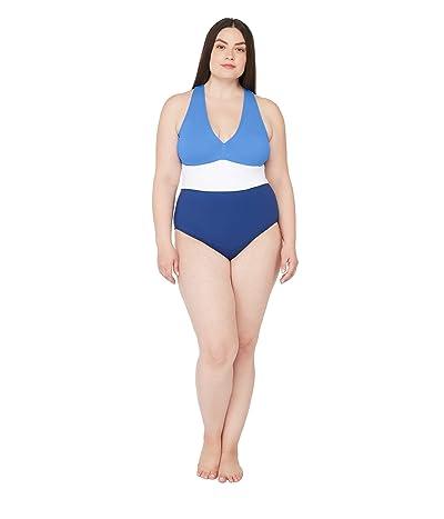 LAUREN Ralph Lauren Plus Size Color-Block Twist Back One-Piece Swimsuit (Blue/White) Women