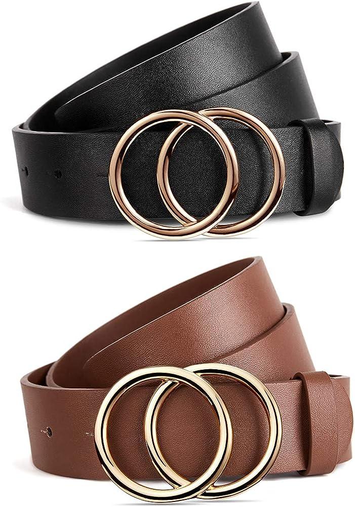 BROMEN 2 Pack store Belt for Women Jeans Belts Leather Quality inspection Dress Pants