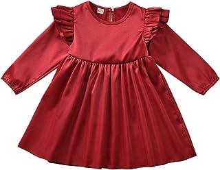 T TALENTBABY Kleinkind Baby Mädchen Geburtstag Tutu Tops Kleider Langarm Baumwolle Rüschen Strampler Rock Party Prinzessin Herbst Kleid Overall Outfits Onepiece