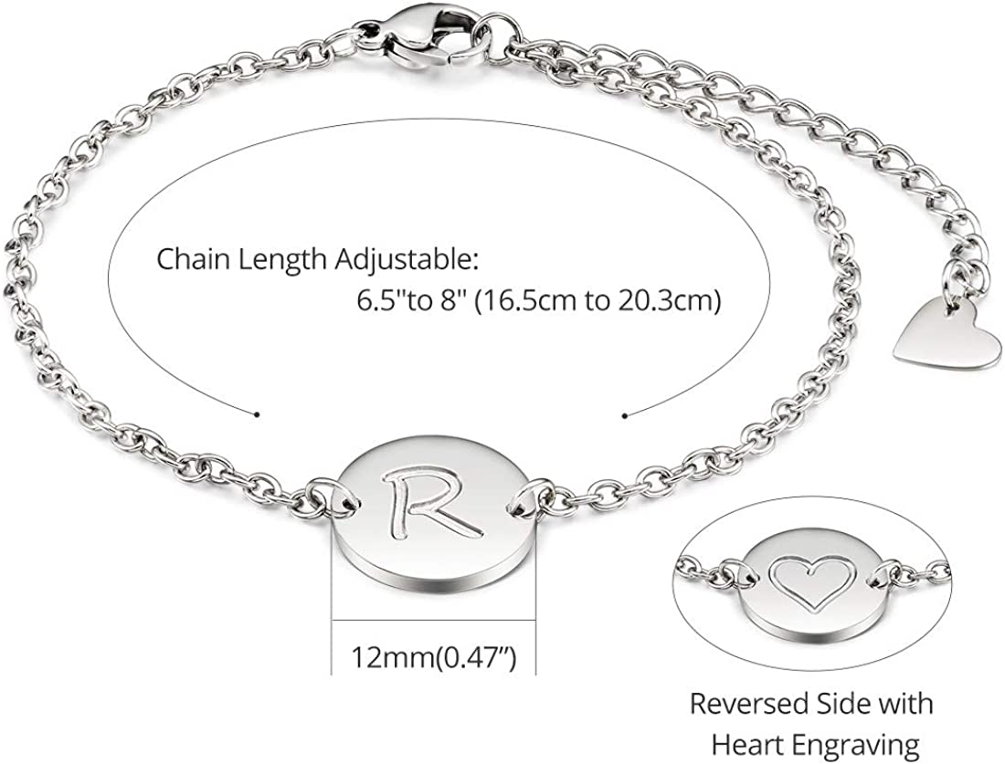 THREE KEYS JEWELRY Rose Gold Initial Bracelet for Girls Gifts Stainless Steel Dainty Coin Name Initial Charm Bracelet Alphabet Letter Pendant Initial Bracelets for Women with Initial