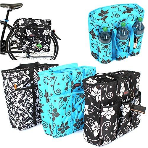 Atlantic Fahrrad Kühltasche/Gepäckträgertasche, Tasche, Tragetasche, Thermotasche, Picknicktasche, Satteltasche (Blumendesign Türkis)