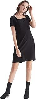Silk Little Black Dress for Women Knee Length with Belt Cap Sleeve Evening Party Sexy 16 MM Pure Silk