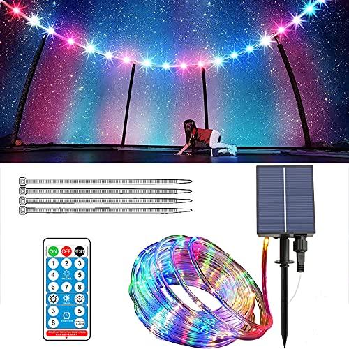 APCHY Luces LED para cama elástica con control remoto, luces LED solares para trampolín, 8 modos de luces de hadas impermeables, superbrillantes para jugar en la noche al aire libre, 300 LED, 100 pies