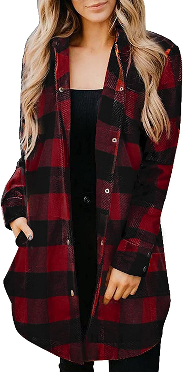 Sweatshirt for Women Long Sleeve Cardigan Grid Loose Button Down Hoodies Casual Jackets with Pocket Oversized
