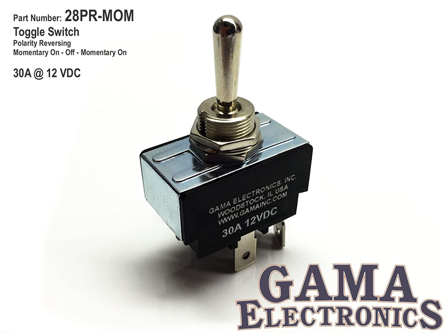 GAMA Electronics 30 Amp Toggle Switch 3 Position Polarity Reversing DC Motor Control- Momentary