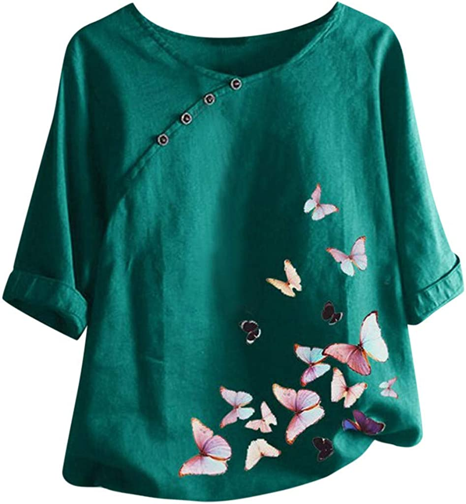 Women's Short Sleeve T-Shirt Casual Vintage Butterfly Printed Button Loose Fashion Crewneck T-Shirt Tops Blouse