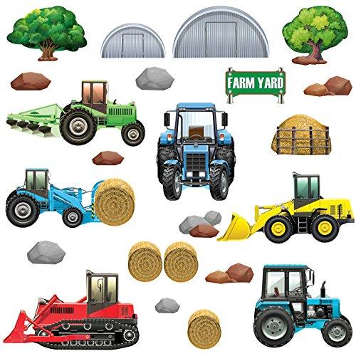 GET STICKING DÉCOR® Bauernhof Traktor & Digger Wandtattoo, Wandsticker Kollektion, TracHeavyFarm Trac.6, Glänzend Herausnehmbar Vinyl, Multi Farbe. (Large)