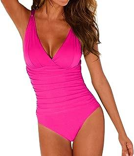 JJLIKER Women's One Piece V-Neckline Ruched Monokini Solid Swimwear Tummy Control Bathing Suit Large Size M-4XL