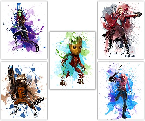 Guardians of the Galaxy - Avengers Baby Groot, Gamora, Star Lord, Drax and Rocket in this Movie Poster Wall Art Series - Set of 5 8x10 Photos