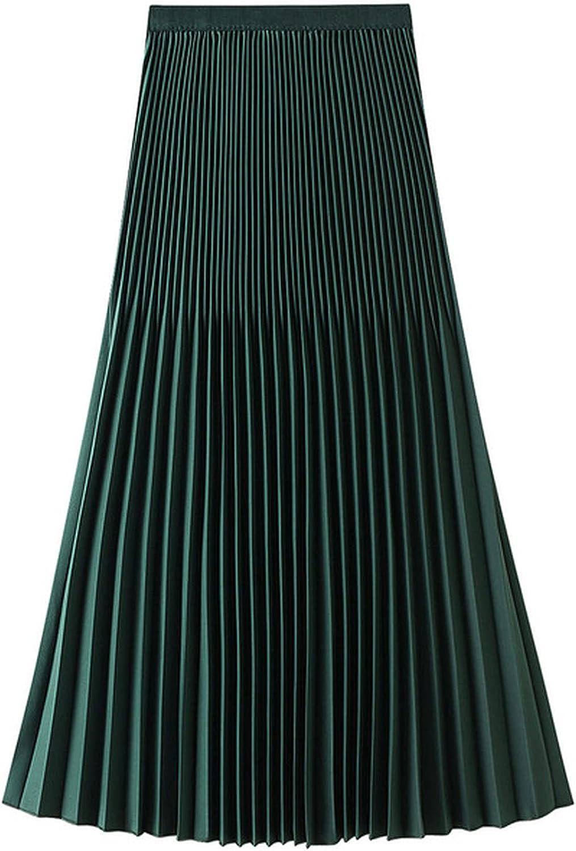 MEWOW Women's Summer Casual Elastic Waist Narrow Pleated Knee Length Mid Skirt