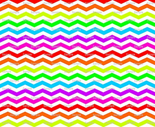 6' Round - Rainbow - Chevron Background Birthday - Edible Cake/Cupcake Party Topper - D9977