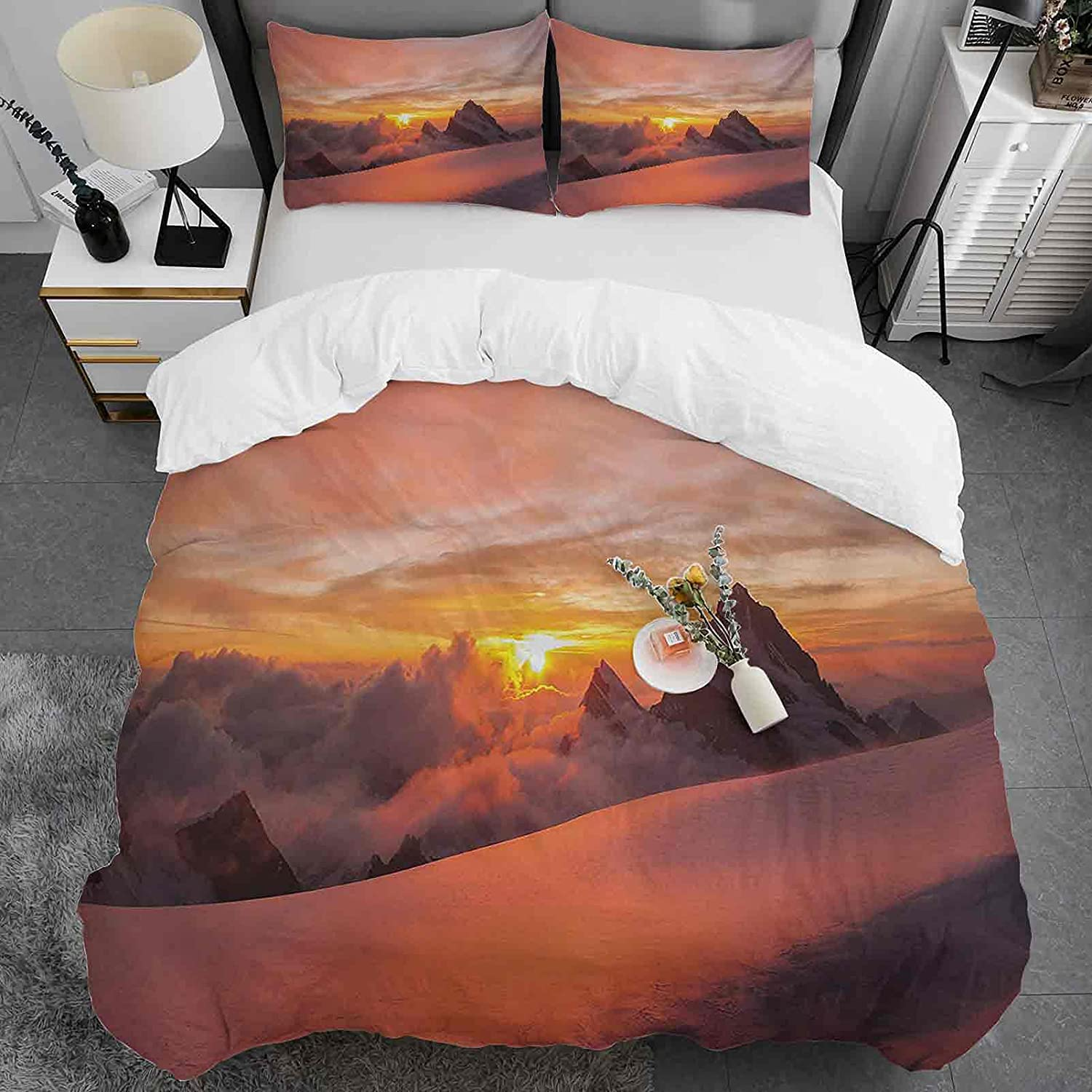 Mountain Duvet Cover Super-cheap Luxury goods Twin Size Sunrise Alps Swiss with in Magic