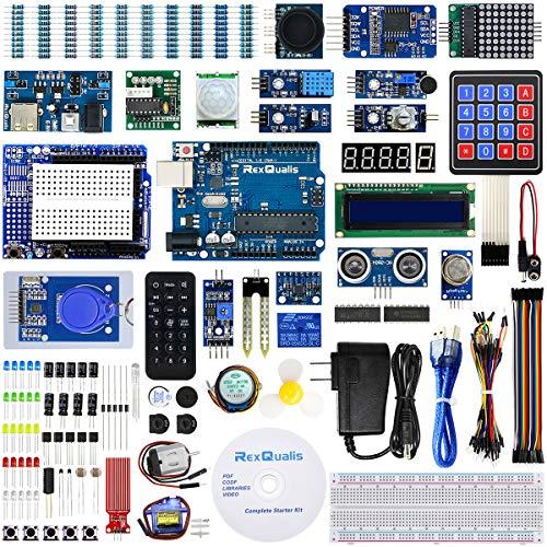 REXQualis Kit de inicio completo basado en Arduino UNO R3 con tutorial gratuito detallado compatible con Arduino IDE (67 artículos)