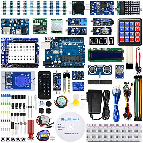 REXQualis Complete Starter Kit based on Arduino UNO R3 w/Detailed Tutorial and Controller Board Compatible with Arduino IDE