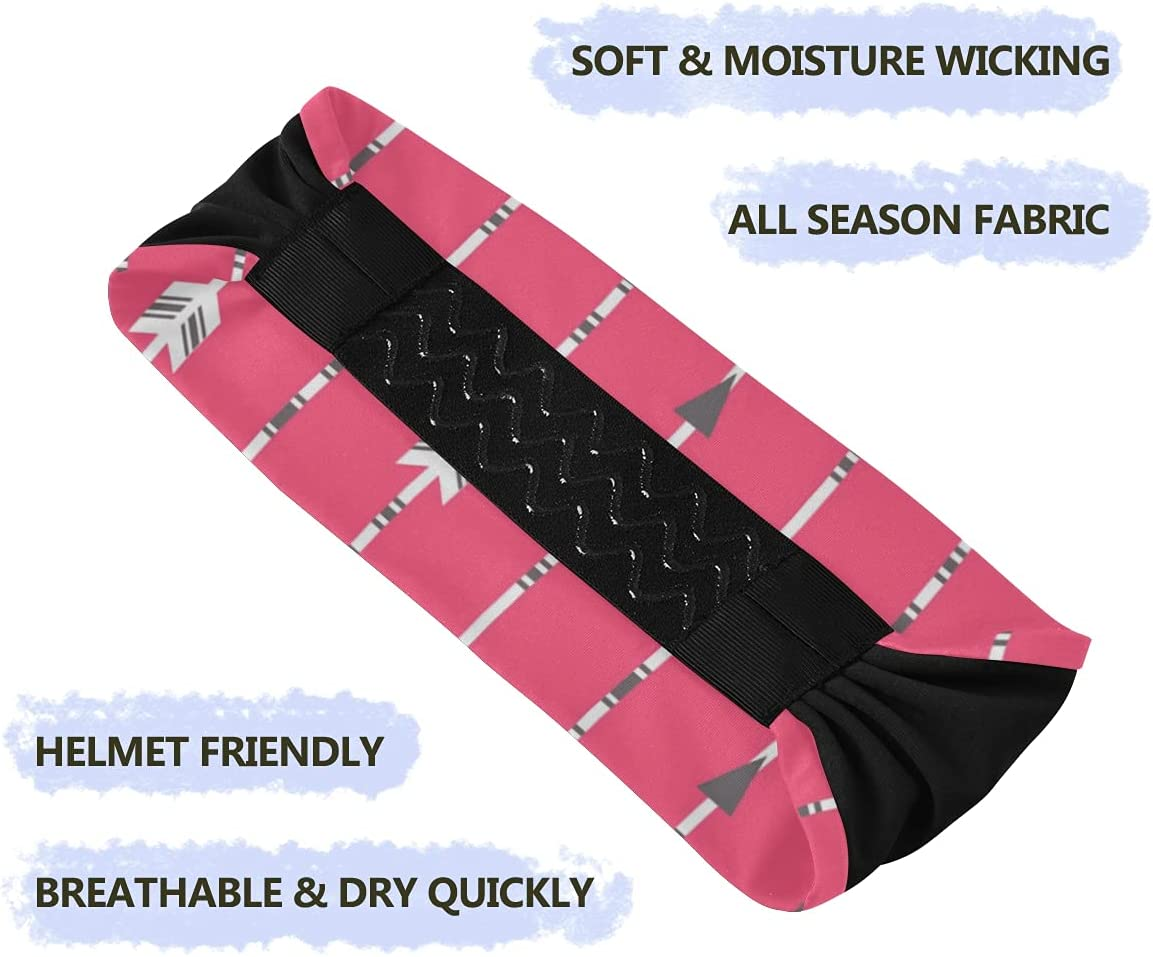 Sport Hair Band Arrow Clip Art Set Pink Non Slip Wicking Headband for Running