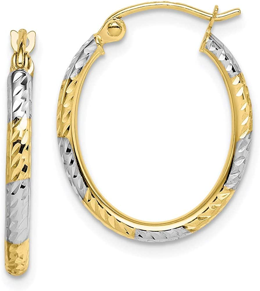 10k Yellow Gold Patterned Oval Hoop Earrings Ear Hoops Set Fine Jewelry For Women Gifts For Her