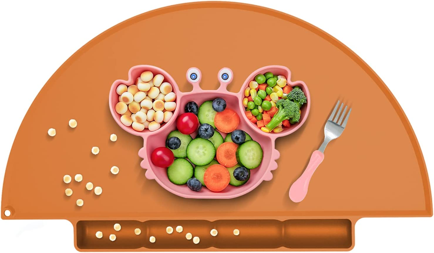 Kids Placemat with Suction Cup, Food Catching Baby Place Mat, Non-Slip, Food Grade Silicone, Unique Raised Edge, Spill Proof Accident Tray (Orange)