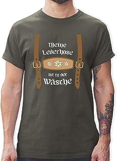 Shirtracer Oktoberfest & Wiesn Herren - Meine Lederhose ist in der Wäsche Edelweiß - Tshirt Herren und Männer T-Shirts