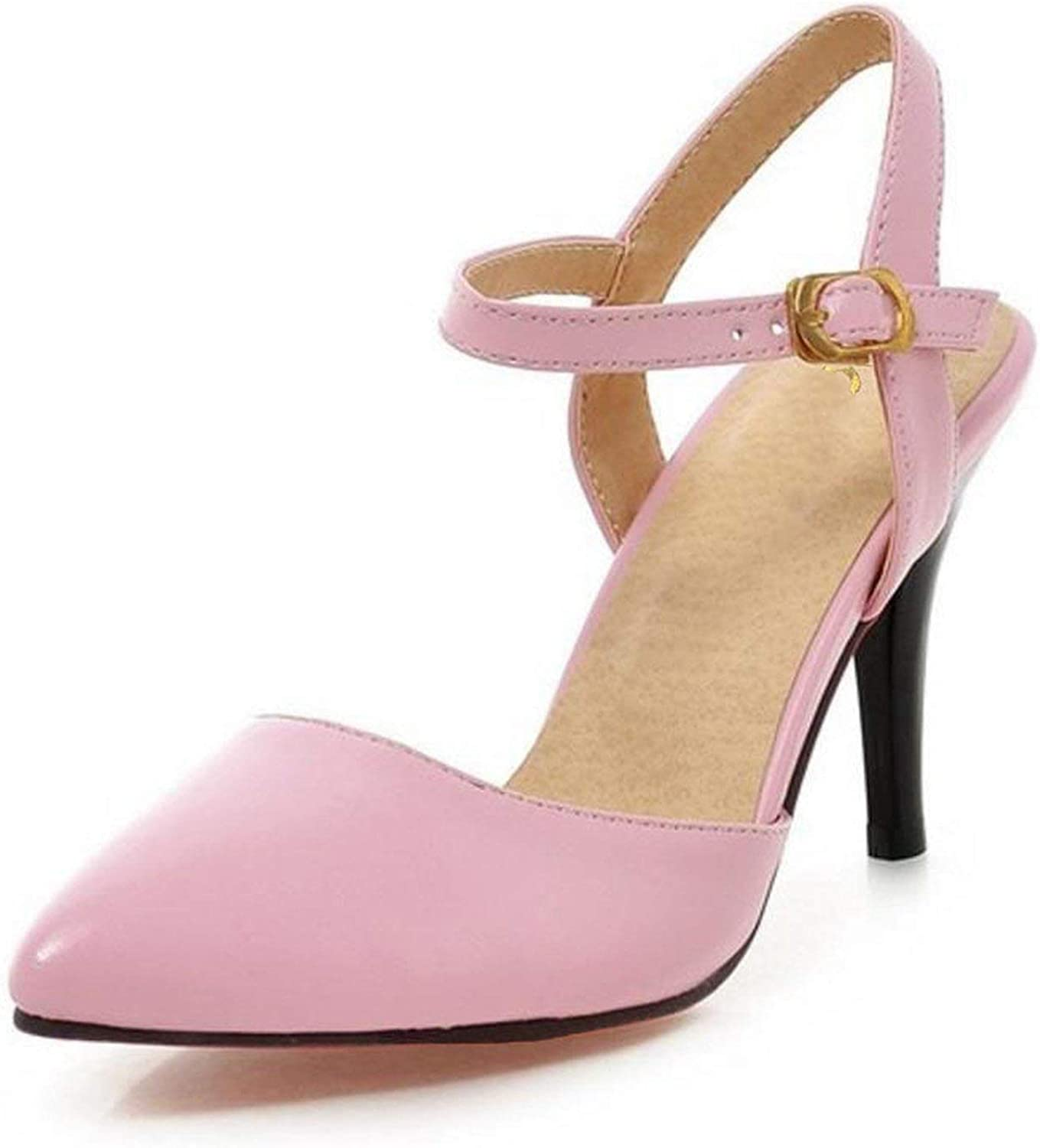 Houfeoans Women's Ankle Strap Pointed Toe high Heel Sandals Sexy Fashion Heeled shoes Large P23535