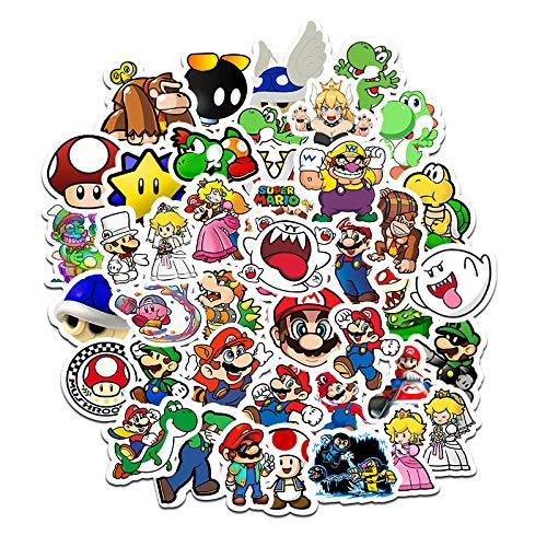 LZWNB Mario Pegatinas Bonitas Cuenta de Mano Dibujos Animados creativos Pegatinas pequeñas Maleta teléfono móvil decoración de la Carcasa Pegatinas Impermeables 50 Hojas