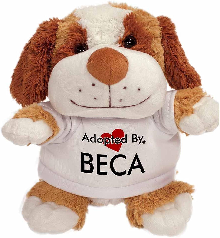 AdoptedBy TB2Beca Peluche Cane Orsac otto con Un Nome Stampato t-Shirt