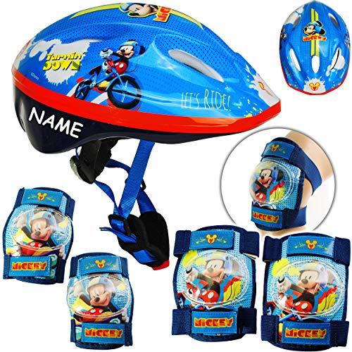 alles-meine.de GmbH 5 TLG. Set: - Sicherheitsset - Kinderhelm / Fahrradhelm - Disney - Mickey Mouse - Gr. 52 - 56 - Circa 3 bis 15 Jahre - Größen verstellbar / mitwachsend - TÜV ..