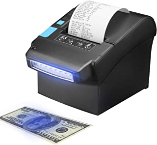 Thermal Printer with US Dollar Currency Money Detector, MUNBYN 80MM Pos Receipt Printer with USB LAN Serial Port for Home Business, Reception, Hotel, Shop, Supermarket ESC/POS