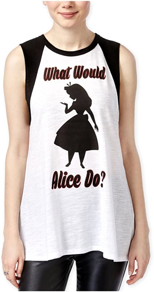 Disney Womens What Would Alice Do? Muscle Tank Top, White, Small