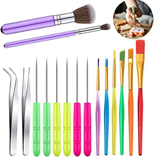 16 PCs Cake Decorating Brushes Tool Kit, Include Decoration Brushes Sugar Stir Needle Elbow and Straight Tweezers, Cookie ...