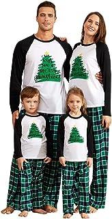 IFFEI Matching Family Pajamas Sets Christmas PJ's Holiday Christmas Tree Printed Sleepwear with Plaid Pants