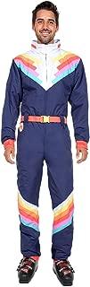 Men's Santa Fe Shredder Rainbow Ski Suit - Blue Retro Snow Suit Male