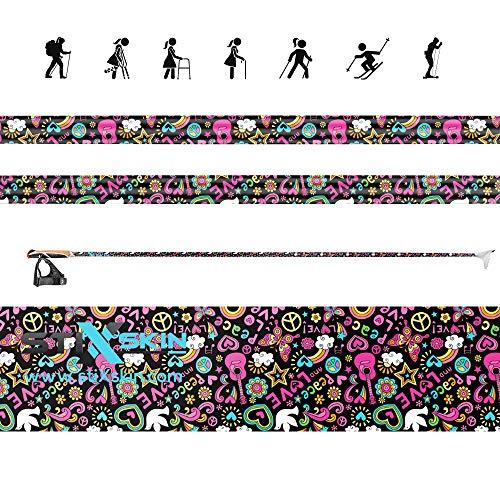 stiXskin 2 fundas de vinilo decorativas de colores para caminata nórdica, senderismo, hockey y bastones personalizados | Leki, Exel, Gabel, Fizan, Vipole, Swix | (Amor y paz)