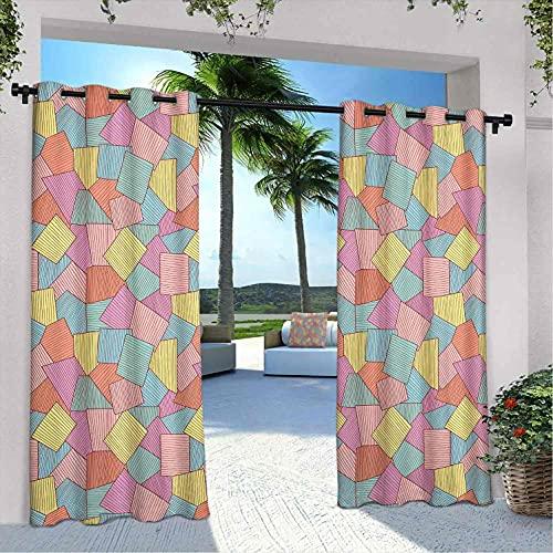 Cortinas geométricas impermeables con diseño de azulejos abstractos con rayas finas, diseño de formas cuadradas vintage, aislamiento térmico, sombreado e impermeable, 108 x 72 pulgadas, multicolor